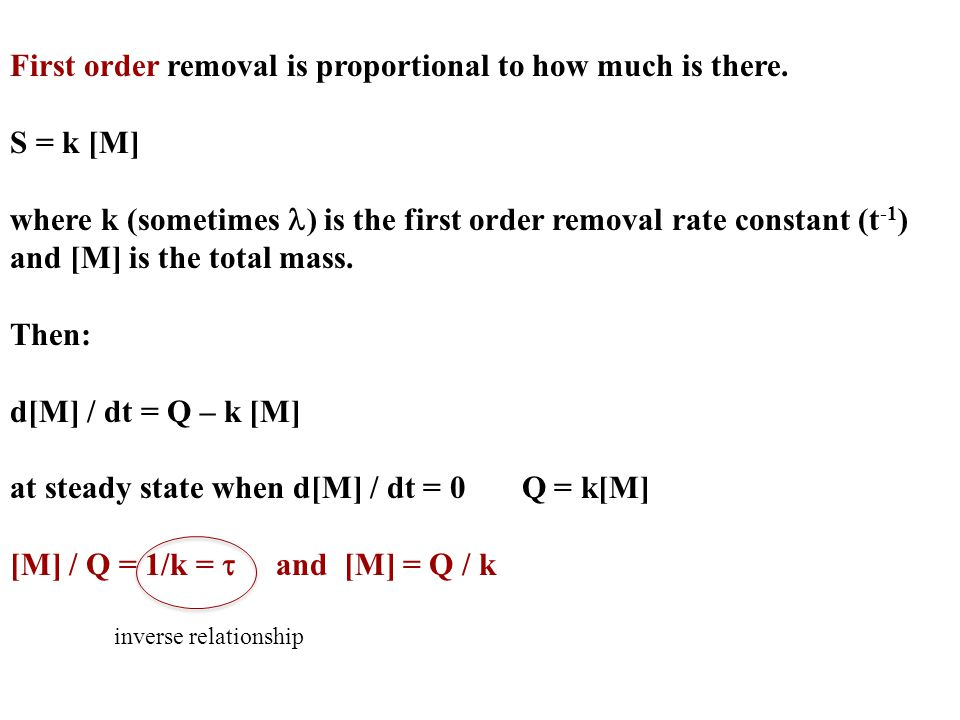 First order removal is proportional to how much is there. S = k [M]